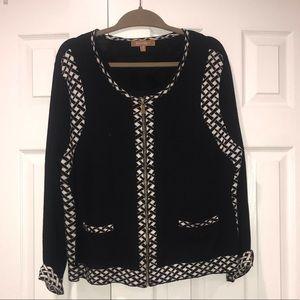 Ellen Tracy Sweaters - Ellen Tracy Black White Zip up Cardigan XL